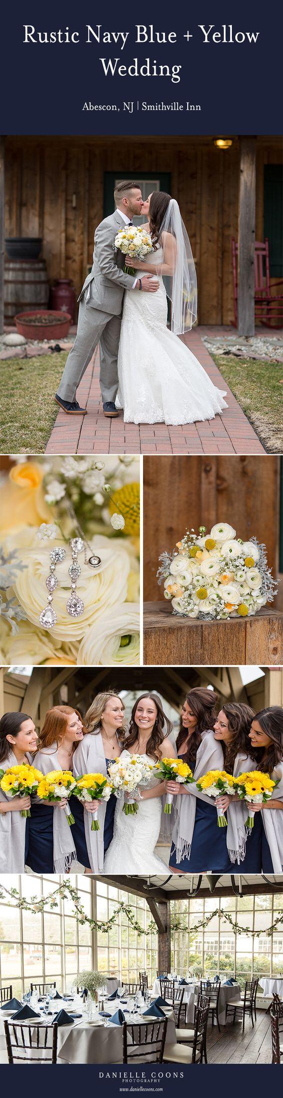 Rustic Navy Blue + Yellow Wedding | Abescon, NJ | Smithville Inn Wedding