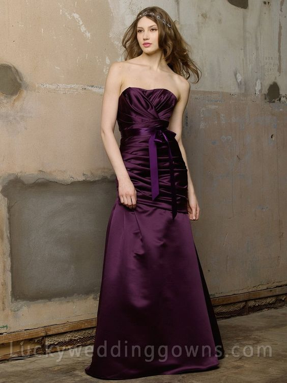 Plum Satin Strapless Long Bridesmaid Dress