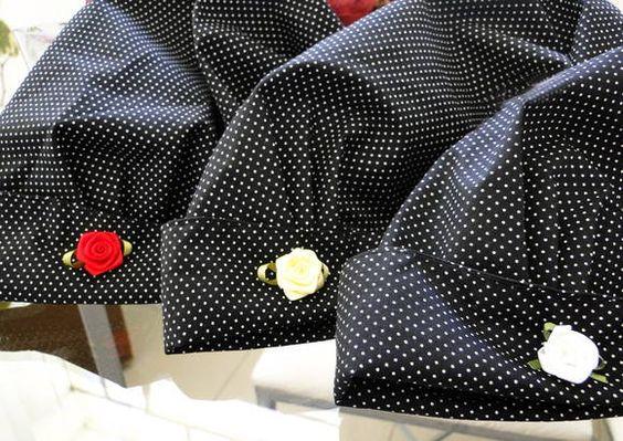 Touca cirúrgica preta com poá branco | Empório Craft | Elo7