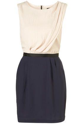 Top Shop - Colour Block Tuck Shift Dress
