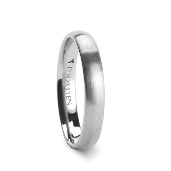 Womens Tungsten Promise Ring - PETRA Domed Brushed Finish Tungsten Ring 4mm - 6mm