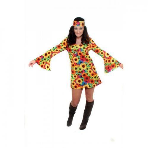 Flower Power Hippiekostüm Sonnenblumen Kleid