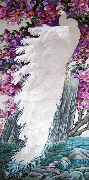 White Peacock, silk thread art, all handmade embroidery with silk threads by embroidery artists in Su Embroidery Sudio, Suzhou China: