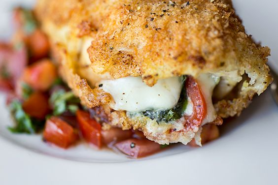 Crispy Stuffed Chicken Caprese with Fresh Mozzarella, Basil and Tomatoes, with Fresh, Tomato-Basil Relish