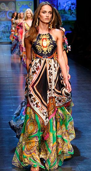 Boho Chic fashion by Dolce & Gabbana...lovelovelove the patterns...I hav somethin of my moms frm back in the day that reminds me of this: