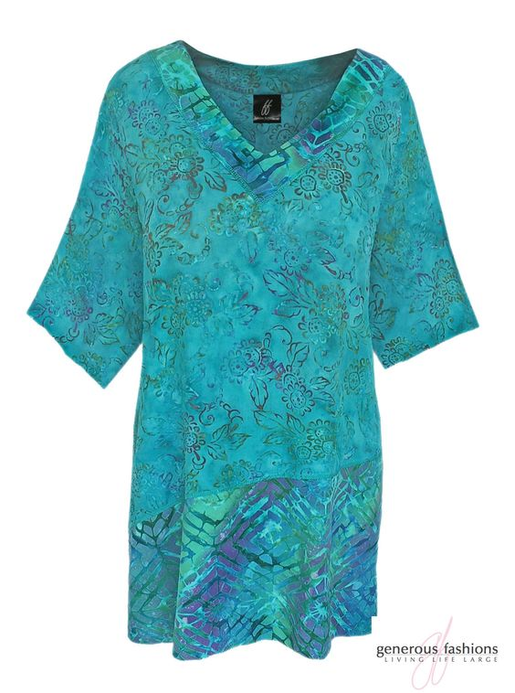 Tunic Top 1x 2x 3x for Plus Size Women, Hand Batik Print Combination Fabric, Short Sleeve Top, Boho Clothes for Full Figure Women, One Size by GenerousFashions on Etsy. ENTER: PIN15 for 15% off your 1st order when you shop my ETSY Store.  https://www.etsy.com/shop/GenerousFashions