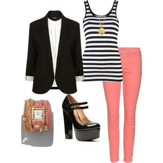 Coral pants+stripe top + blazer +black  heel Mary janes