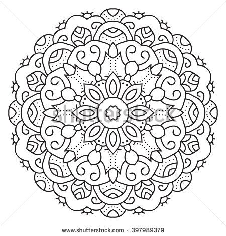 symmetrical circular pattern mandala decorative oriental pattern coloring page for adults vector mandala