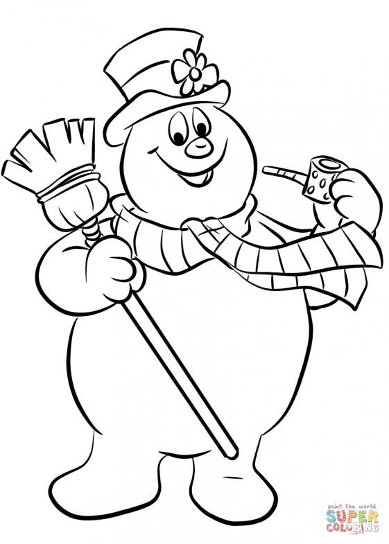 Frosty The Snowman Super Coloring Kidswoodcrafts In 2020 Printable Christmas Coloring Pages Snowman Coloring Pages Coloring Pages