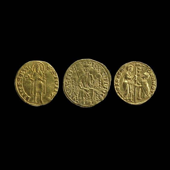 Three gold coins    Medieval, Late 13th century AD  From Venice, Florence and England
