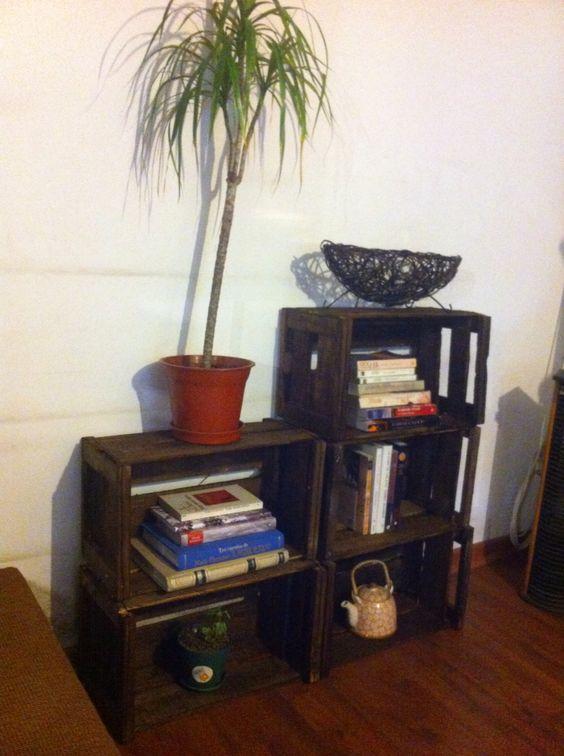 Hice este mueble con cajas de tomate, una lija gruesa y barniz color