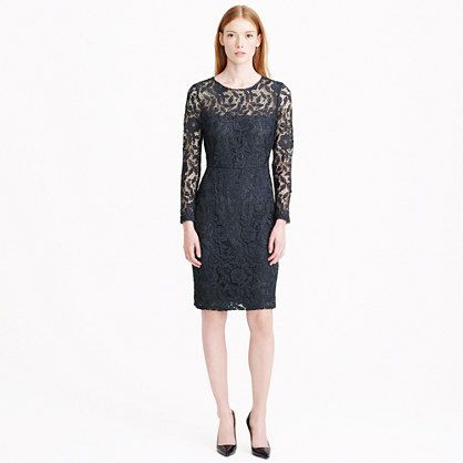 """Made from delicate floral-embroidered lace, this classic shift's illusion sleeves and neckline offer a compromise between completely covered up and too bare (so you can actually have it both ways). <ul><li>Straight silhouette.</li><li>Falls above knee, 37 1/4"""" from high point of shoulder (based off size 6).</li><li>Poly.</li><li>Back zip.</li><li>Partially lined.</li><li>Dry clean.</li><li>Import.</li><li>Online only.</li></ul>"""