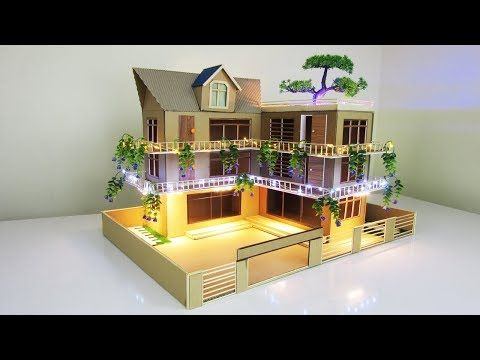 Making A Beautiful Mansion House From Cardboard With Led