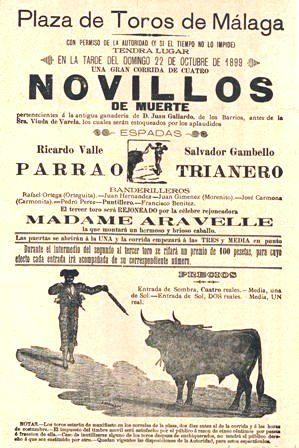 Corrida de cuatro novillos con los espadas: Parrao, Trianero y Madame Arevelle. 22 de octubre de 1899. Es29072ADPMPH30:11
