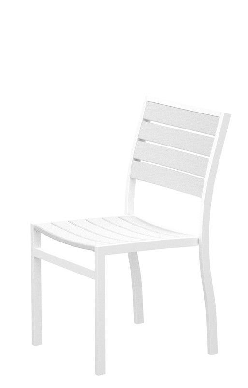 Polywood A100-13WH Euro Dining Side Chair in Textured White Aluminum Frame / White