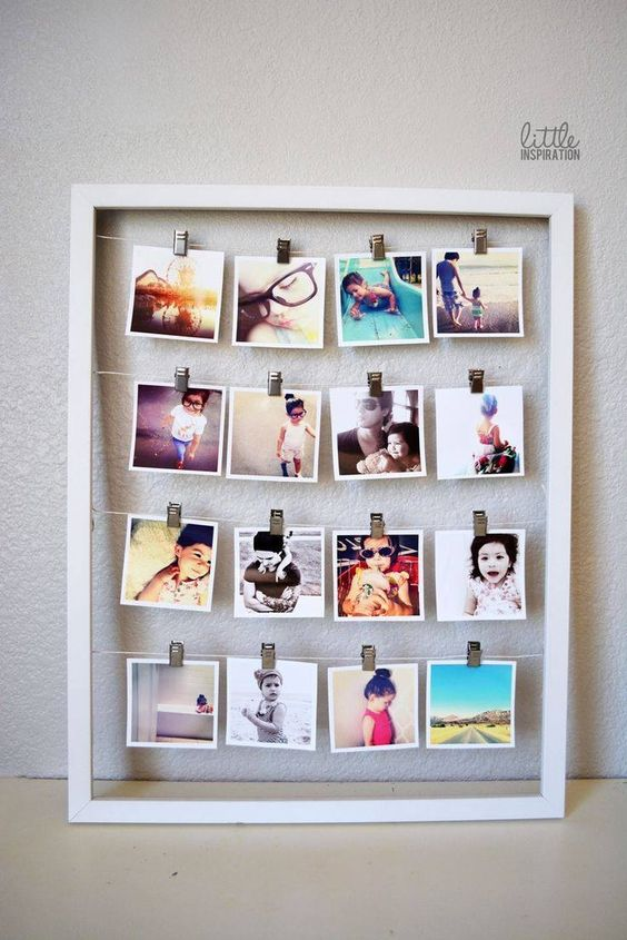 Picture frame, string, and photos. #DIY