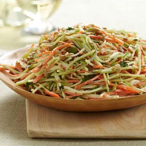 Most people throw away broccoli stems, preferring to eat the florets. But cut into long thin strips with a fine julienne peeler, the sweet and crunchy stems are perfect in a fresh-tasting slaw with carrots, scallions and salty sunflower seeds.