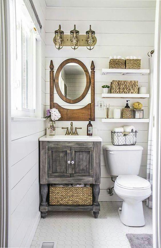 This Tiny Bathroom Got A Big Ol 39 Countrified Makeover Pinterest Bathroom Makeovers Blue