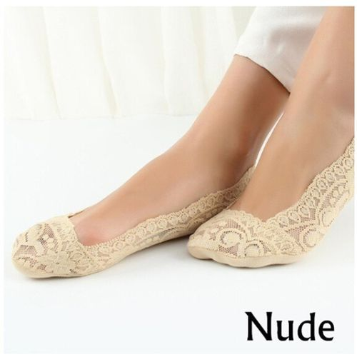 Women Summer Lace Floral Invisible Socks Low Cut Boat Socks Anti-slip Silicone