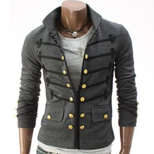 Details about Doublju Mens Antique Short Jacket Blazer GRAY (GAK08