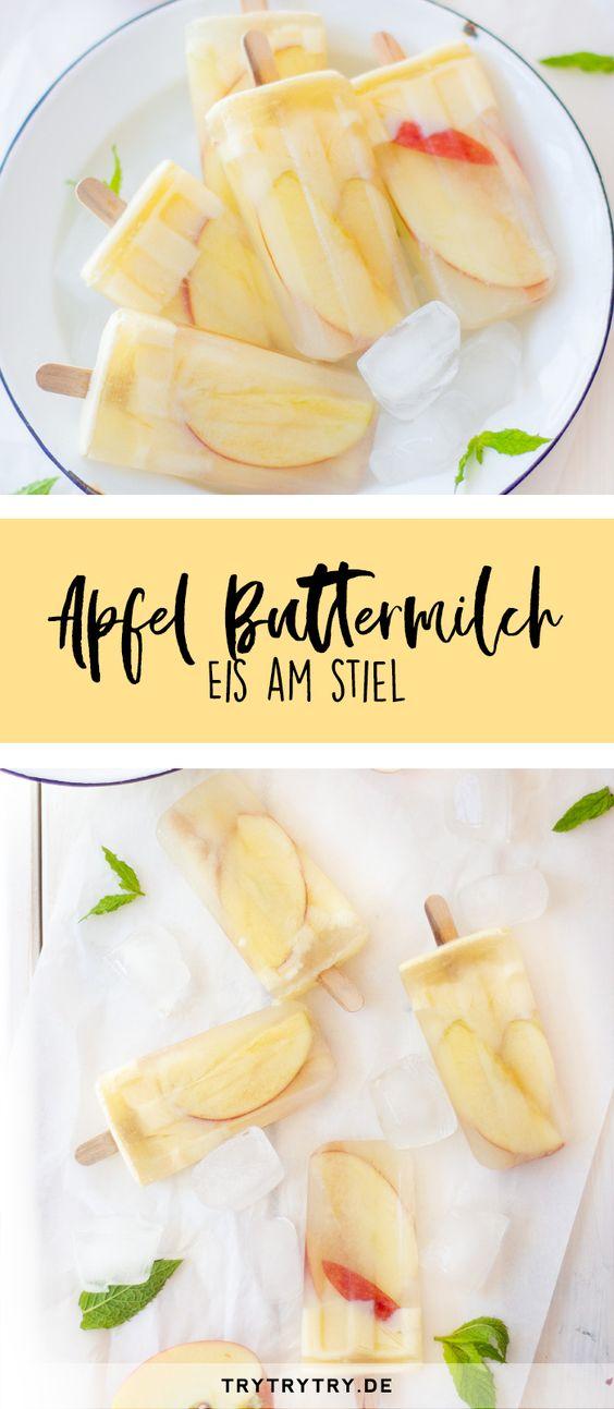 Apfel-Buttermilch-Eis am Stiel