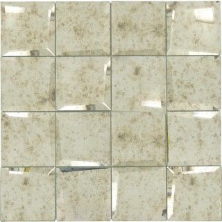 Antique Uneven Beveled Silver 3 X 3 Mirror Tile Mirror Tiles Mirror Wall Tiles Tiles