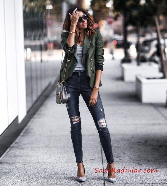 2019 2020 Sonbahar Kis Bayan Kombin Onerileri Lacivert Yirtik Kot Pantolon Gri Bluz Yesil Kisa Deri Ceket Stil Kiyafetler Moda Yirtik Kotlar