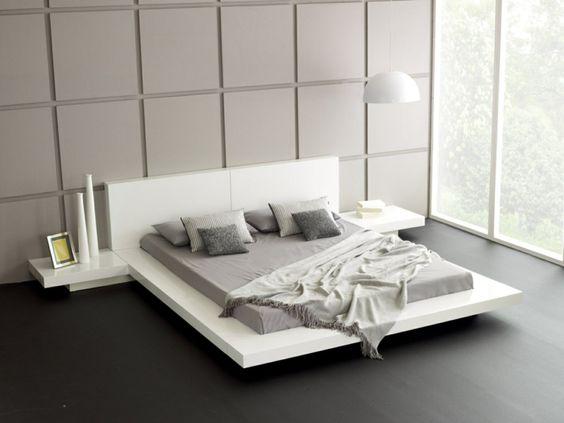 Wohnideen schlafzimmer weißes bett dekovasen wandpaneele ...