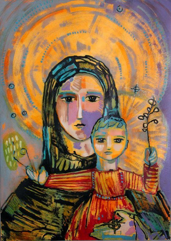 La Virgen y el niño, acrílico sobre papel. 50 x 35 cm La Virgen y el niño, ac...