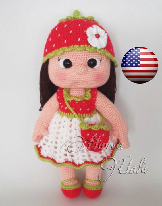 PATTERN - Mia Doll With Starwberry Dress (crochet ...