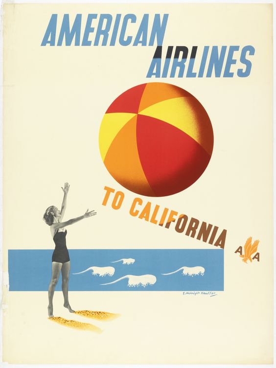 "Poster, ""American Airlines to California"", ca. 1947"
