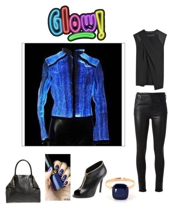 """G L O W in the DARK: Blue glow in dark jacket, black top,black leather pants and accessories.  How neat,fresh,and cool is the jacket"" by im-karla-with-a-k ❤ liked on Polyvore featuring Alexander Wang, Citizens of Humanity, Tom Ford and Alexander McQueen"