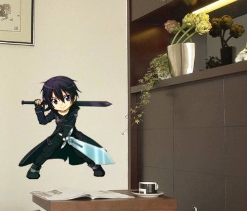 Sword Art Online Anime Cosplay Sticker mural cidbest® Cartoon Wall Stickers Chambre Background Décoration Sticker mural Stickers Chambre…