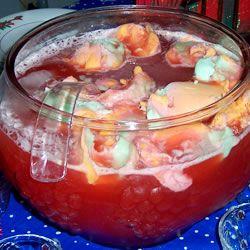 Fruit Punch  Ingredients  1 (64 fluid ounce) bottle fruit punch, chilled  1 (64 fluid ounce) bottle unsweetened pineapple juice, chilled  1 (2 liter) bottle ginger ale, chilled  1/2 gallon orange or rainbow sherbet