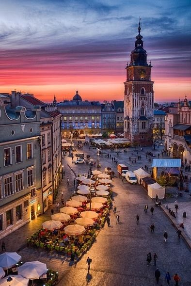 View of Main Square in Krakow from an Office Window photography city travel street town view places poland village krakow