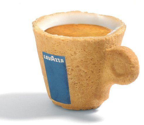 """""""Designer Enrique Luis Sardi of Sardi Innovationhas come up with something clever. The baked cup is lined with a special icing sugar that makes the cup waterproof (for enough time to drink the espresso anyways) and sweetens the coffee at the same time. The designer claims that it has collected """"hundreds of Awards in Ecology, Marketing, Business Strategy and Design sectors."""""""