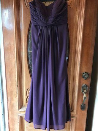 Long Strapless Chiffon Dress in Lapis