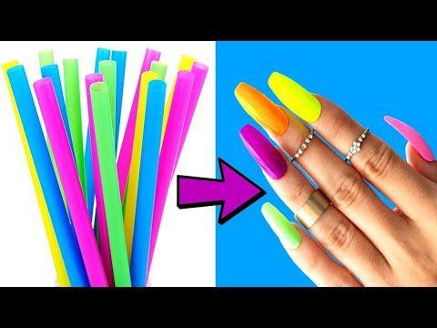 Diy How To Make Fake Nails From Straws 2 Strong Method 5 Minute Crafts Youtube In 2020 Fake Nails Diy Nail Hacks Diy Diy Acrylic Nails