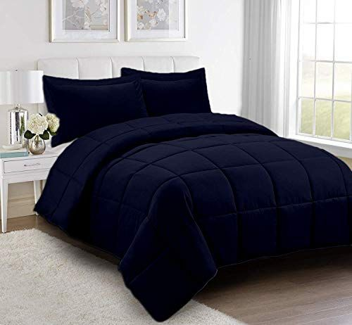 Navy Blue 3pc Comforter Set Oversized Queen Size 98 X 98 Inches 100 Organic Cotton Goose Down Alternative Comforter Sets Comforters King Size Comforter Sets