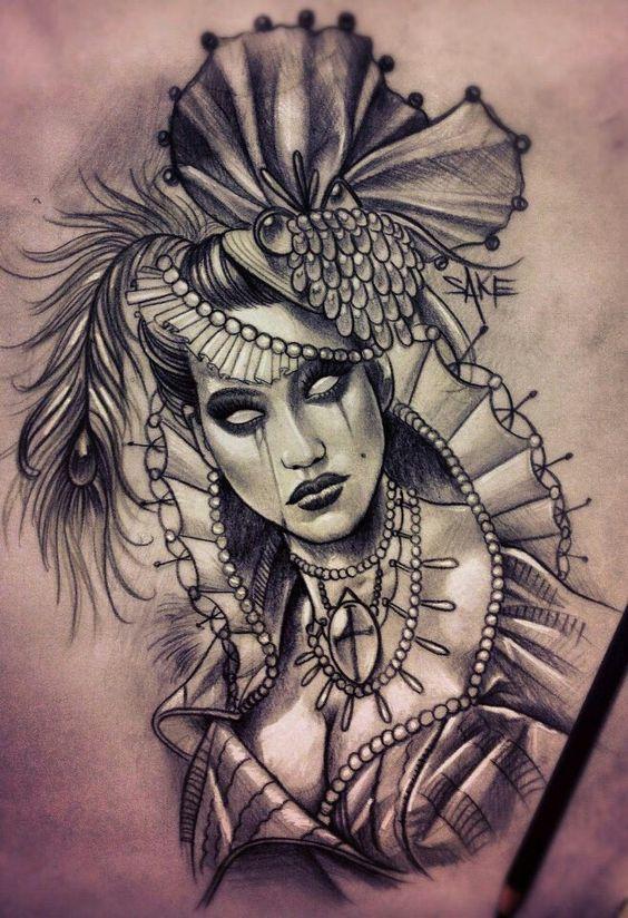 Black ink tattoo sketch pinterest female portrait for Black ink crew tattoo shop