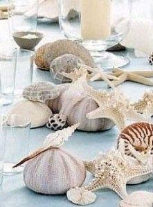 décoration de table coquillages