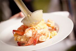 Shrimp and Grits by 1587 Catering and Coordination. Julie Dreelins' Beach Productions http://www.outerbanksweddingassoc.org/membersearch/memberpage.html?MID=1872=Videographers=21 #shrimpandgrits #receptionfood #obxwedding #1587catering