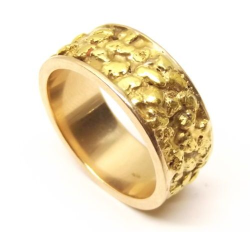 Vtg Heavy 10k Gold Nugget Ring Sz 9 Placer Ore Eternity Wide Band Chunky Estate Gold Nugget Ring Gold Nugget Gold