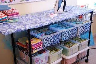 Good idea for ironing board and storage all in one.