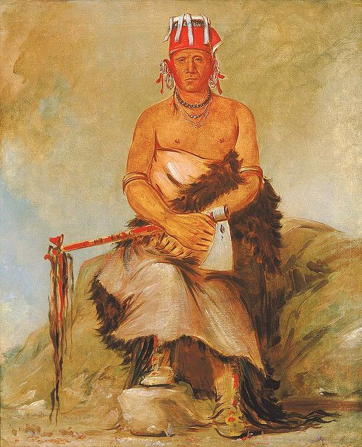 Native American George Catlin A'h-sha-la-cóots-ah, Mole in the Forehead, Chief of the Republican Pawnee, via Flickr.