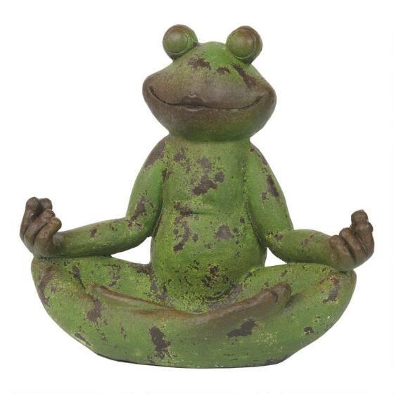 Tranquil Frog Statue Green Urban Barn