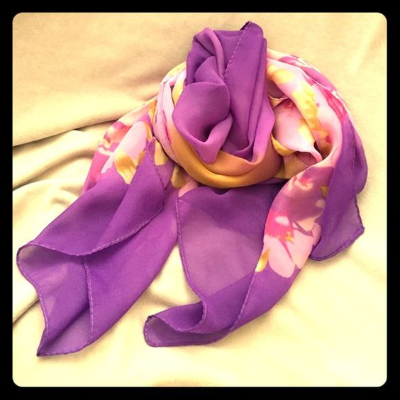 "Purple Flower Scarf Beautiful purple, pink and yellows on scarf sarong.  65""x22"". Silky Chiffon material. Brand new never worn. Accessories Scarves & Wraps"
