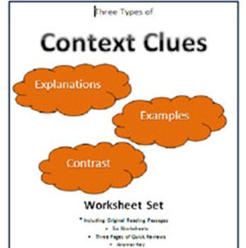 Worksheets Types Of Context Clues Worksheets context clues three types worksheet set this file includes six worksheets plus pages