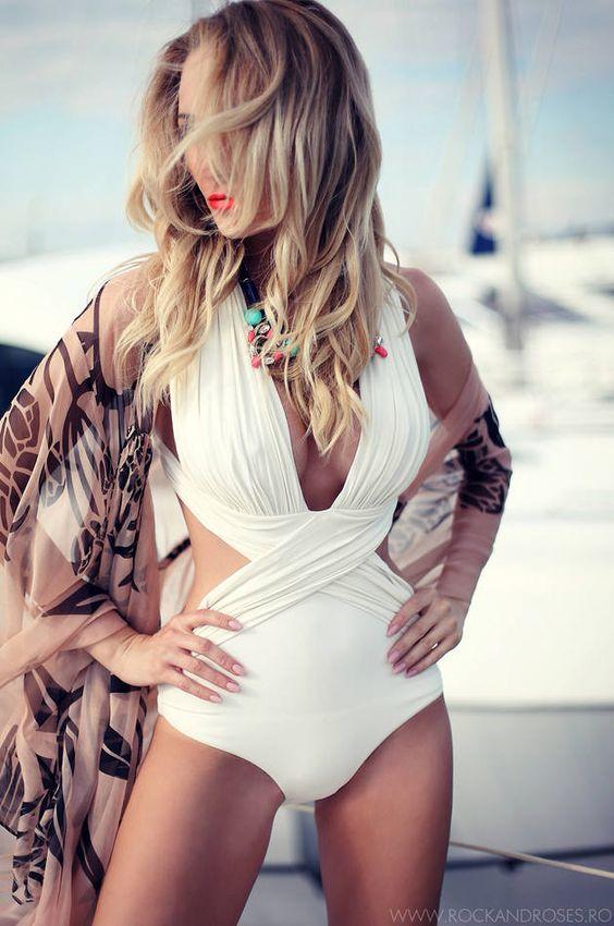 http://www.popularclothingstyles.com/category/ecco/ White Halter Crisp Criss Cross Drape Swimsuit