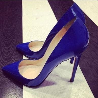 Gorgeou Blue Coppy Leather Pointed Toe High Heel Shoe Low heels ...
